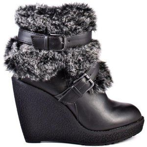 Baby Phat Black Faux Fur Wedge Demaris Booties 7
